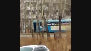 تراموای سوزان در خیابان های روسیه