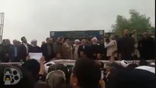 اولین فیلم از سخنرانی رهبر انقلاب در جمع مردم زلزله زده کرمانشاه