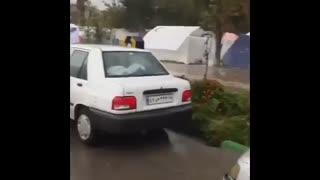 هم اکنون باران شدید در سرپل ذهاب منطقه زلزله زده
