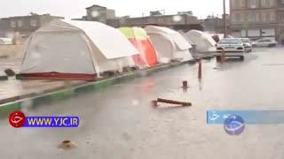 وضعیت بد مردم زلزله زده سرپل ذهاب زیر بارش باران