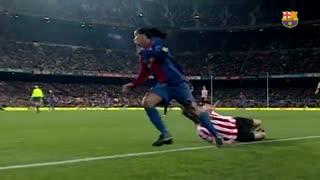 بهترین لحظات بازی رونالدینیو برای بارسا