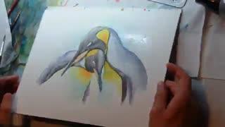نقاشی آبرنگ پنگوئن