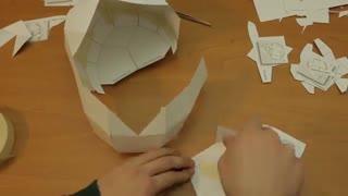 فایل باز-تایم لپس ساخت جمجمه کاغذی 3 بعدی