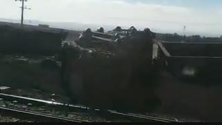 واژگونی قطار باری حامل سنگ آهن در ایستگاه دیزباد شهرستان نیشابور
