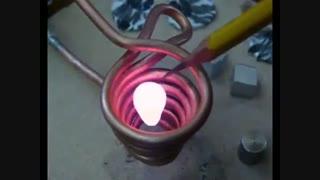 ذوب کردن فلز با کمک الکترومگنت