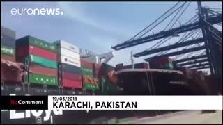 تصادف کشتی به هنگام پهلو گرفتن در بندر کراچی