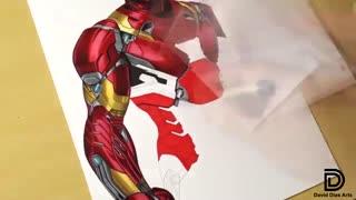 نقاشی زیبا از Iron Man با مداد رنگی