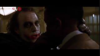 سکانس تعریف داستان صورت جوکر در فیلم شوالیه تاریکی