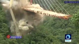 انفجار یک پل کابلی در کلمبیا با ۲۰۰ کیلوگرم مواد منفجره
