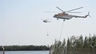 بالگردهای سپاه در حال خاموش کردن آتش هورالعظیم در عراق