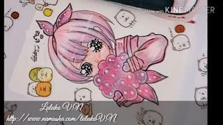 نقاشی من از دختر انیمه ای چیبی(=・ω・=)♡