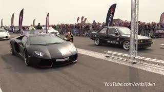 مقایسه شتاب BMW E30 افسانه ای با  لامبورگینی Aventador جوان