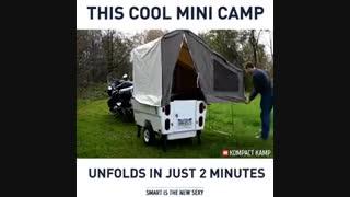 یک چادر تاشوی کوچک بر پشت موتور سیکلت