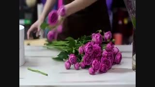 آموزش  گل آرائی گلدان زیبای  رز