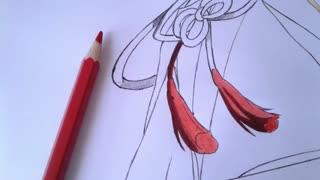 """آموزش تصویری نقاشی انیمه / مانگا توسط خودم #_#   مراحل رنگ آمیزی لباس """"برای alex"""""""