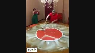 روشی بسیار جالب و خلاقانه برای شستشوی شیشه رومیزی یا میز.