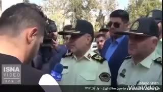 گفتگوی عجیب فرمانده نیروی انتظامی با جوانی که با قمه به کلانتری حمله کرده بود